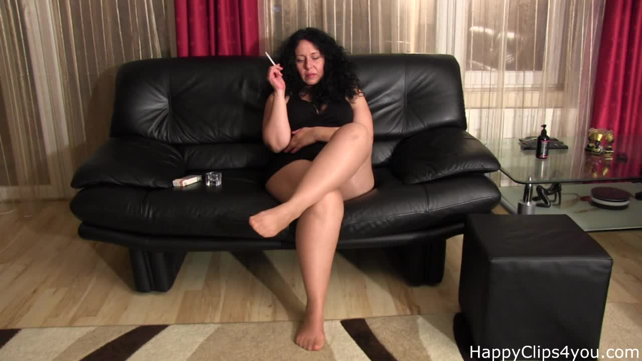 Smoking and foot fetish clip by mom