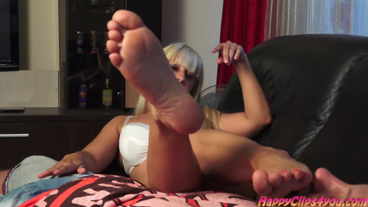 Foot smelling handjob with Alegria