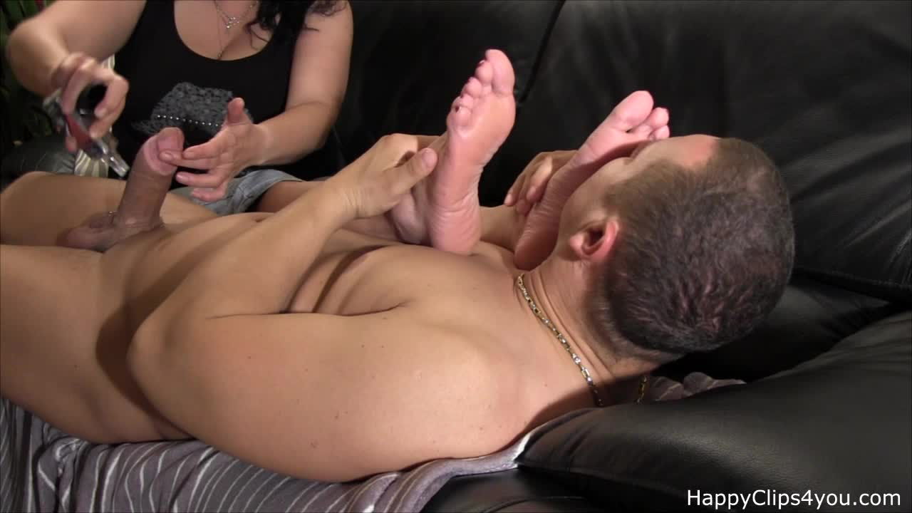 Foot smelling handjob by my stepmom