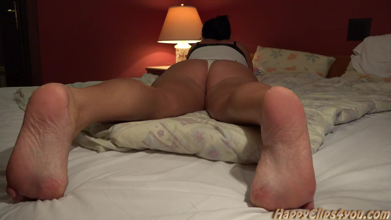 Mommy's footplay in a hotel room